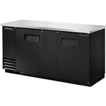 "True® Back Bar Cooler, Two-Section, Black, 37""H - TBB-3-HC"