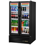 True® Glass Door Merchandising Cooler 2 Swing Door 30 CU FT, Black - GDM-30-HC-LD(BLK)