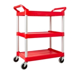 Rubbermaid® 3 Shelf Utility Cart, Red, 200lb - FG342488RED