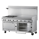 "Quest® Qgr-2 Series, Double Oven Range w/ 4 Burners and Fry Top, Propane, 72"" - 100-24OBFTO(LP)"