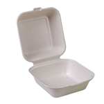"Eco-Packaging® Compostable Sugarcane Clamshell Container, White, 6"" x 6"" (500/CS) - EP-003B"