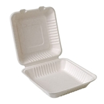 "Eco-Packaging® Compostable Sugarcane Clamshell Container, White, 9"" x 9"" (200/CS) - EP-025B"