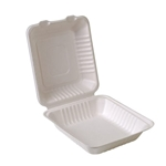 "Eco-Packaging® Compostable Sugarcane Clamshell Container, White, 8"" x 8"" (200/CS) - EP-026B"