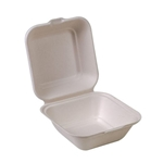 "Eco-Packaging® Compostable Sugarcane Clamshell Container, White, 5"" x 5"" (500/CS) - EP-55B"