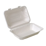 "Eco-Packaging® Compostable Sugarcane Clamshell Container, White, 9"" x 6"" (200/CS) - EP-A818"