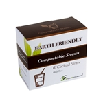 "Eco-Packaging® Jumbo Compostable Cocktail Straws, Black, 6"" (7200/CS) - EP-STR6B"