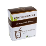 "Eco-Packaging® Jumbo Compostable Cocktail Straws, Black, 7.75"" (7200/CS) - EP-STR775"