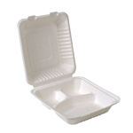 "Eco-Packaging® Compostable Hinged Sugarcane Clamshell Container w/ 3 Compartments, White, 8"" x 8"" (200/CS) - EP-A866"
