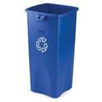 Rubbermaid® Untouchable Square Recycling Container, 23 Gal, Blue - FG356973BLUE