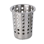 "Browne® Stainless Steel Perforated Cutlery Cylinder, 3.8"" x 5.5"" - 80110"