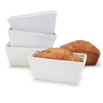 "BIA Porcelain® Mini Loaf Pans, White, 6"" x 3.5"" x 2.5"" (Set of 4) - 904945GWH"