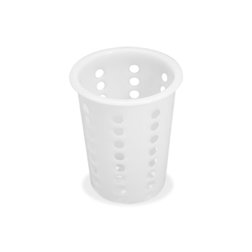 "Browne® Perforated Flatware Cylinder, White, 4.3"" - 5735"