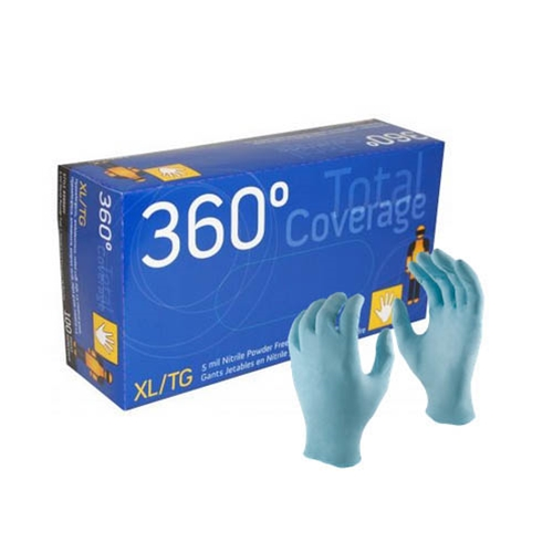 Watson Gloves®  360° Total Coverage™ 5Mil Nitrile Disposable Gloves, Blue, Small (100/Box) - 8888PF(S)